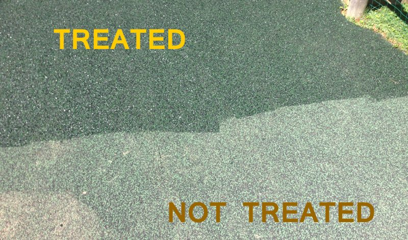 Poured in place rubber surfacing before and after being treated with Trassig's Rebinder™